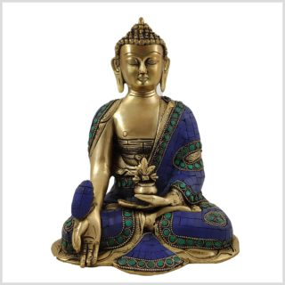 Medizinbuddha Asthamangala Blau Vorderansicht