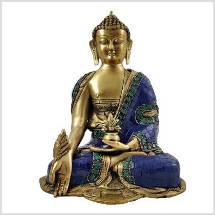 Medizinbuddha Asthamangala Blau Vorderansicht Fein