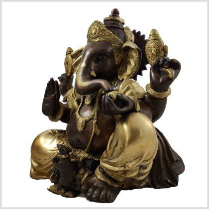 Sitzender Ganesha 11kg Messing verkupfert Seite Links