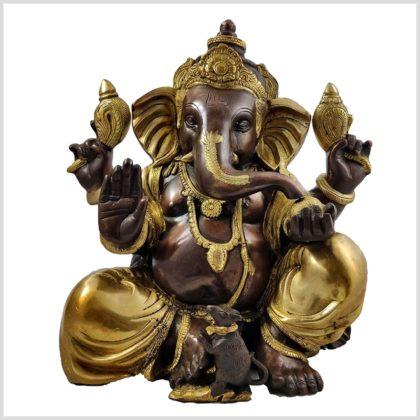 Sitzender Ganesha 11kg Messing verkupfert