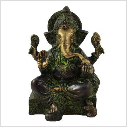 Ganesha sitzend Grünantik Vorne