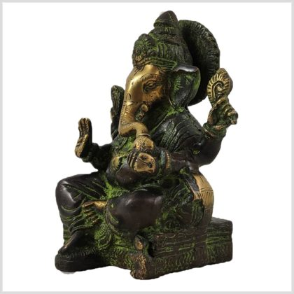 Ganesha sitzend Grünantik Seite Links