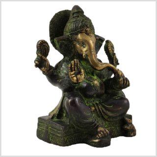 Ganesha sitzend Grünantik Seite Rechts