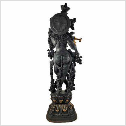 Krishna Stehend Schwarzgold Hinten Gesamtansicht