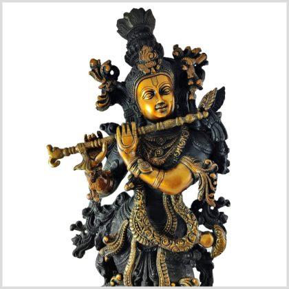 Krishna Stehend Schwarzgold Gesicht