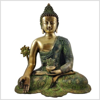 Medizinbuddha 9,6 grünantik Vorderansicht