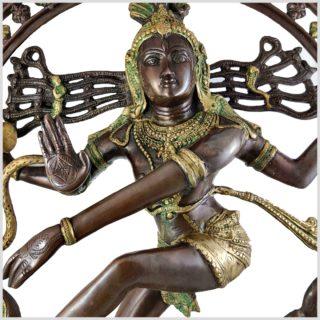 Nataraja Shiva 86cm Messing verkupfert Nahansicht Gesicht