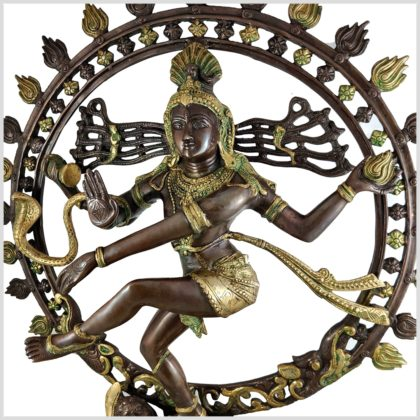 Nataraja Shiva 86cm Messing verkupfert Seite Links
