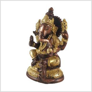 Ganesha mit Ratte Messing Kupfer 12cm Seitenansicht Links