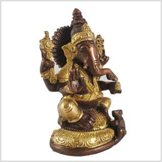 Ganesha mit Ratte Messing Kupfer 12cm Seitenansicht Rechts