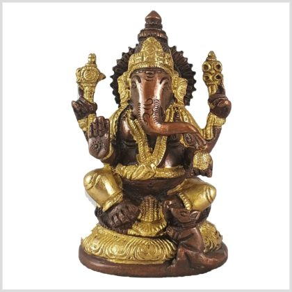 Ganesha mit Ratte Messing Kupfer 12cm Vorderansicht
