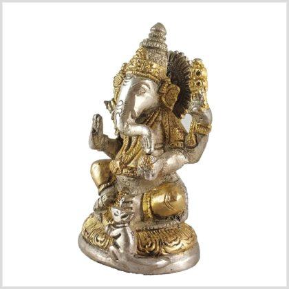 Ganesha mit Ratte Messing Silber 12cm Seitenansicht Rechts