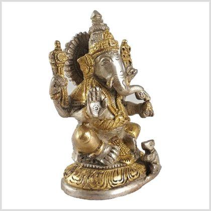Ganesha mit Ratte Messing Silber 12cm Seitenansicht
