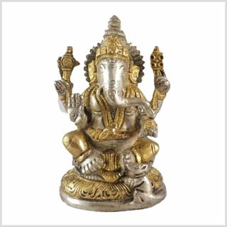 Ganesha mit Ratte Messing Silber 12cn