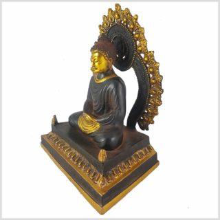 Erleuchteter Buddha auf Podest Seitenansicht Rechts