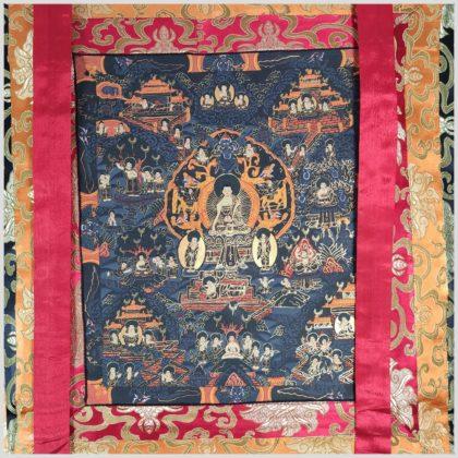 Thangka Leben des Buddhas Mittelansicht