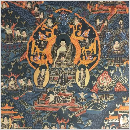 Thangka Leben des Buddhas Nahansicht