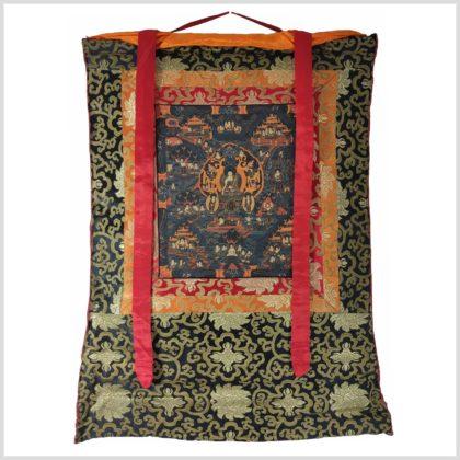 Leben des Buddhas Thangka auf schwarzen Hintergrund