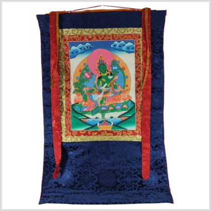Grüne Tara Thangka mit blauen Hintergrund