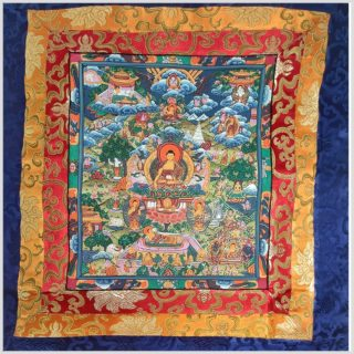 Thangka Buddhas Leben Mittelansicht