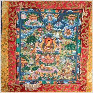 Thangka Buddhas Leben Nahansicht
