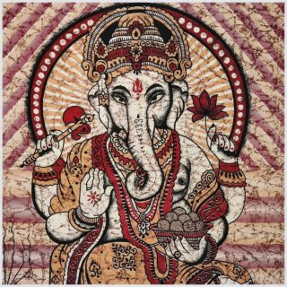Ganesha Wandbehang Groß Orange Nahansicht