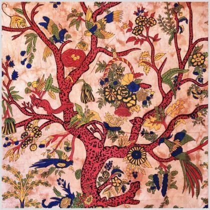 Lebensbaum Wandbehang rot Nah