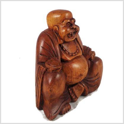 Lachender Buddha Holz Seitenansicht Rechts