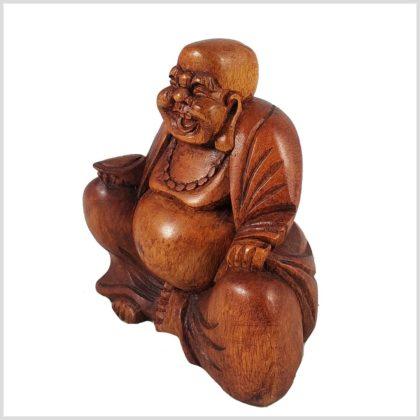 Lachender Buddha Holz Seitenansicht Links