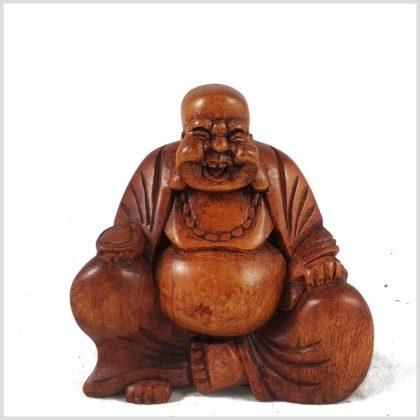 Lachender Buddha Holz Vorderansicht