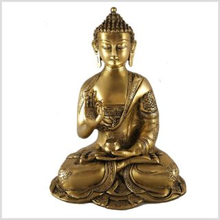 Lehrender Buddha Vitarka Mudra Buddha Asthamangala 2,8kg Messing Vorderansicht