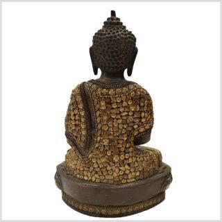 Meditationsbuddha mit Metallarbeit Messing 33cm Hinten