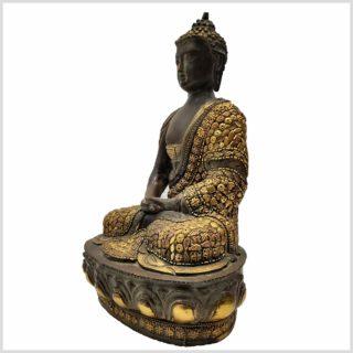 Meditationsbuddha mit Metallarbeit Messing 33cm Seitenansicht links