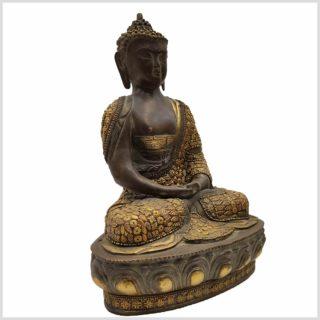 Meditationsbuddha mit Metallarbeit Messing 33cm Seitenansicht Rechts