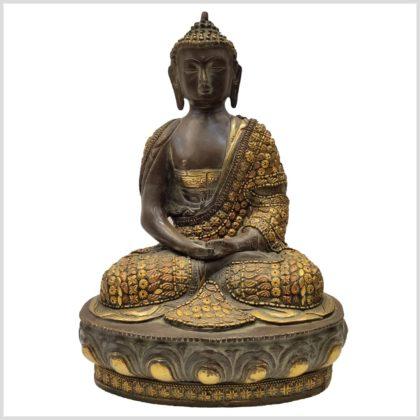 Meditationsbuddha mit Metallarbeit Messing 33cm Vorderansicht