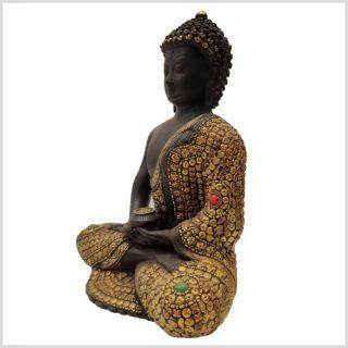 Erleuchteter Buddha mit Metallarbeiten Seitenansicht Links