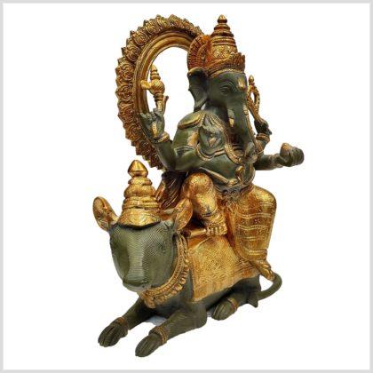 Ganesha auf Ratte sitzend Messing 40cm 13kg Seitenansicht