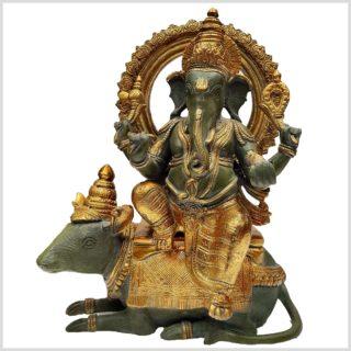 Ganesha auf Ratte sitzend Messing 40cm 13kg Vorderansicht