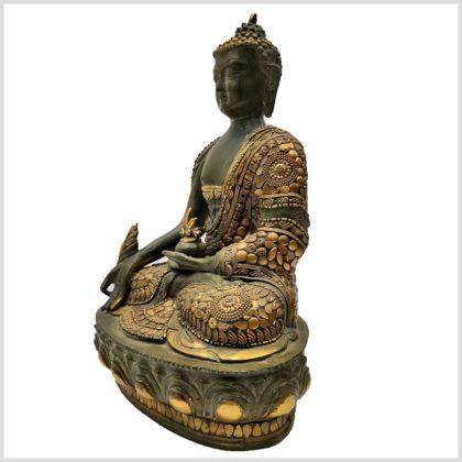 Medizinbuddha mit Steinen 33cm Seitenansicht Links