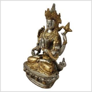 Avalokiteshvara 1,8kg Messing versilbert Seite links