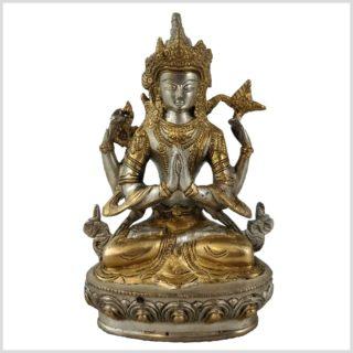 Avalokiteshvara 1,8kg Messing versilbert vorne
