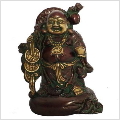 Lachender Buddha Messing Vorderansicht