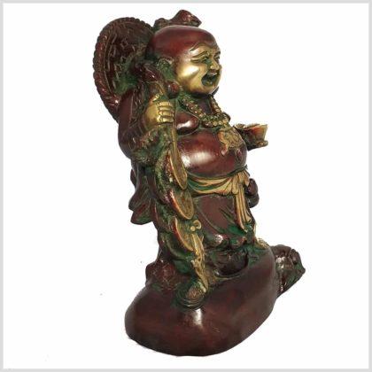Lachender Buddha Messing Seitenansicht