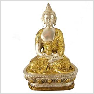 Erleuchteter Buddha Dragon Messing versilbert Vorderansicht
