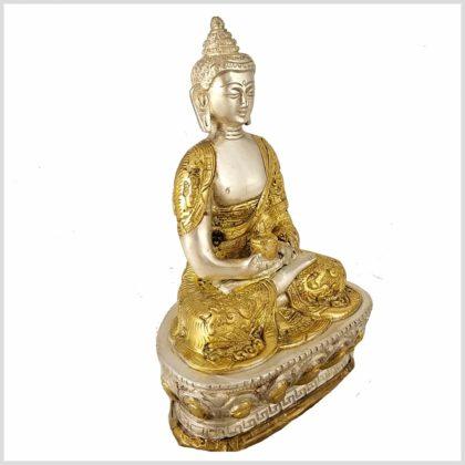 Erleuchteter Buddha Dragon Messing versilbert Seitenansicht