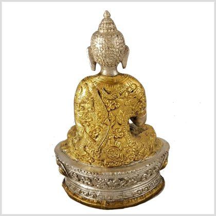 Erleuchteter Buddha Dragon Messing versilbert Rücken