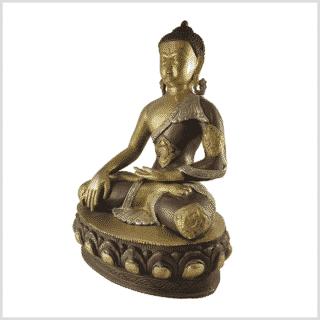 Erdender Buddha 41cm Messing Tricolore Seite links