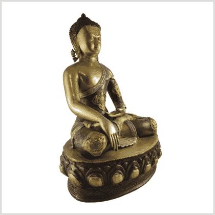 Erdender Buddha 41cm Seite rechts Messing Tricolore