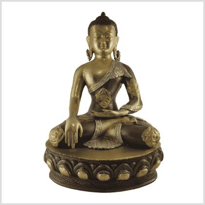 Erdender Buddha 41cm Messing Tricolore vorne