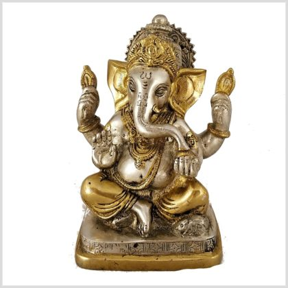 Ganesha eckige Basis Messing versilbert
